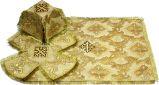 Литургический комплект бежевый с золотым, парча крест солнечный