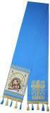 Закладка голубая габардин, вышитая с иконой Б.М. Касперовская
