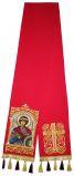 Закладка красная габардин, вышитая с иконой вмч.Георгия Победоносца