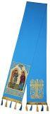 """Закладка голубая габардин, вышитая с иконой """"Благовещение"""""""