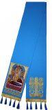 """Закладка голубая габардин, вышитая с иконой Б.М. """"Успение"""""""