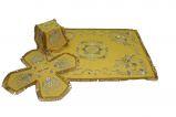 Литургический комплект вышитый габардин, желтый