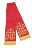 Закладка красная габардин, вышитая золотом №2