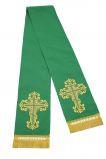 Закладка зеленая габардин, вышитая золотом