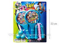Ракетки круглые, 3 мячика, скакалка Toy Story под слюдой
