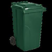 Бак для мусора на колесах  240 л. черный зеленый, 2 (шт), Плоская, Алеана