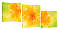 Модульная картина с часами 27 желтые цветы