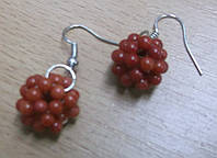 """Хорошенькие серьги """"Малинка""""из натурального красного коралла LadyStyle.Biz, фото 1"""