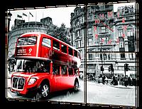 Модульная картина с часами 30 лондонский автобус