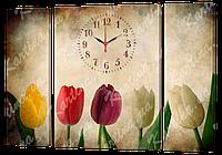 Модульная картина с часами 68 Тюльпаны