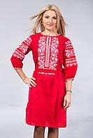 Красное платье с белой вышивкой, фото 1