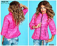 Элегантная женская весенняя куртка на замочке под горло. Рукав 3/4. На утеплителе. Разные цвета