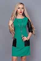 Женское легкое коктейльное платье,с вставками из козжама, до колена,на молнии,с карманами  42,44,46,48,