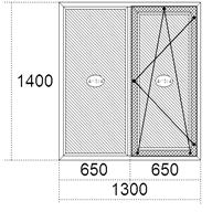 Окно в квартиру двухстворчатое поворотно-откидное 1300х1400