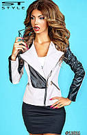 Стильная женская весенняя куртка материал кож заменитель