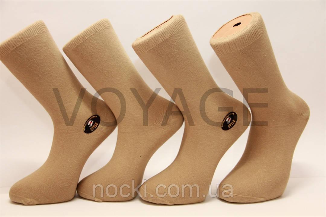 Стрейчевые мужские носки STYLE с хлопка, кеттельный шов бежевый