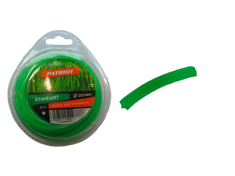 Леска patriot 15м х 2 мм стандарт зелёная