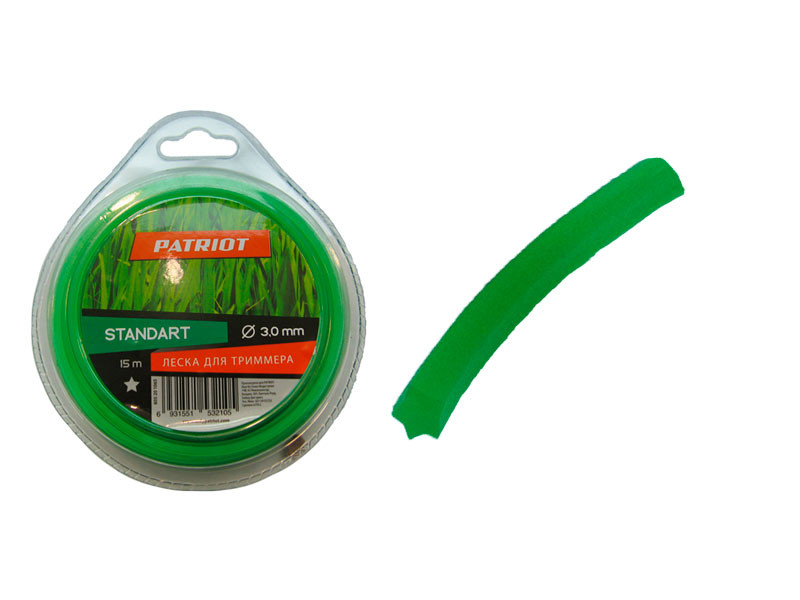 Леска patriot 15м х 3 мм стандарт зелёная