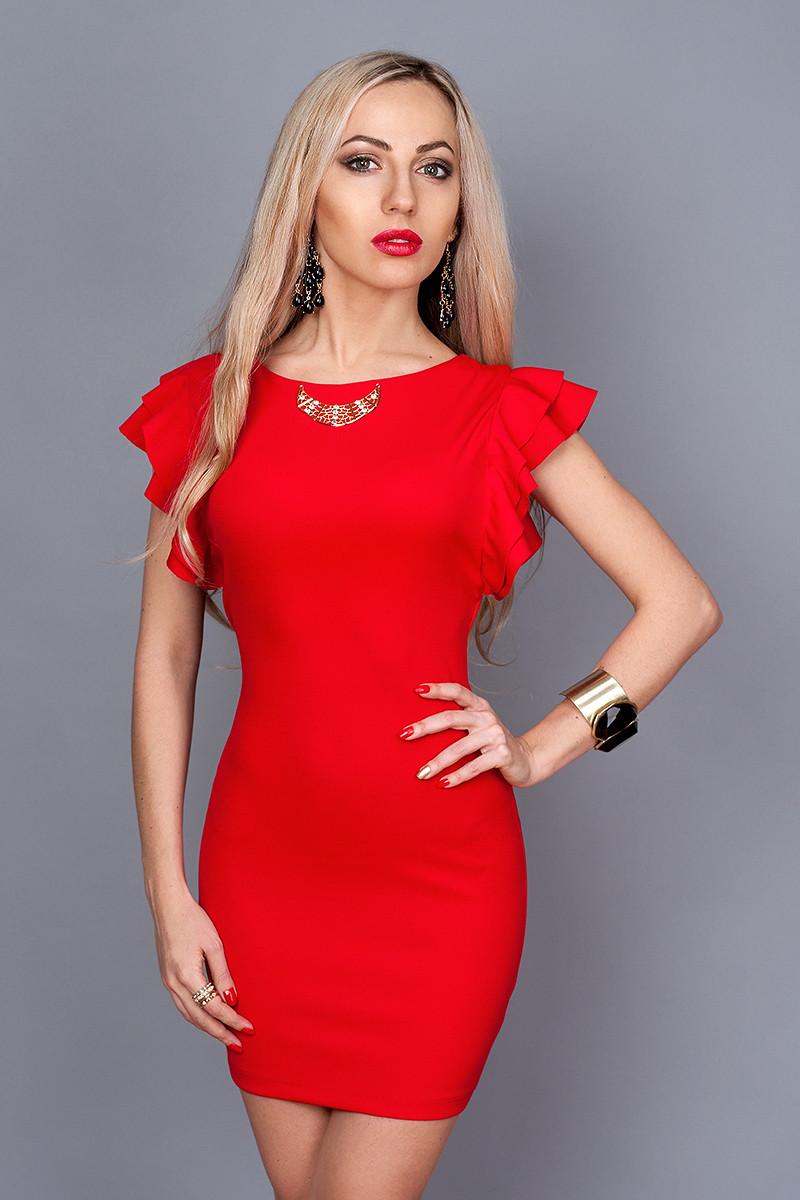 Молодежное сексуальное красное мини платье с оголенной спинкой,44,46,48