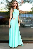 Нарядное платье в пол бирюзового цвета