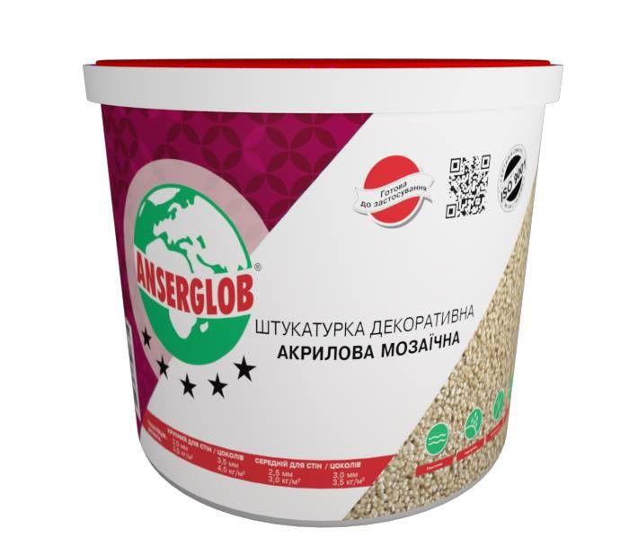 Штукатурка акриловая мозаичная (цвета G GN PG PGN) Anserglob 5 кг