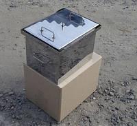 Коптильня с гидрозатвором 2 уровня и поддон 250х250х280 нержавейка 1,5 мм.