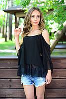Блуза шифоновая черная с открытыми плечами