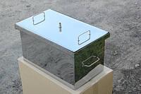 Коптильня с гидрозатвором 2 уровня и поддон; 400 х 310 х 280 нержавейка 1,5 мм.