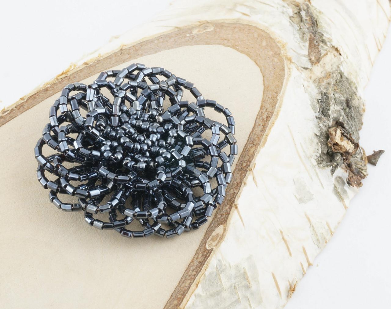 Елемент для украшения цветок из бисера 50мм - магазин-студия Цацки в Чернигове