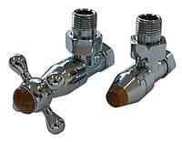 Комплекты клапанов ELEGANT Style угловой хром c деревянным