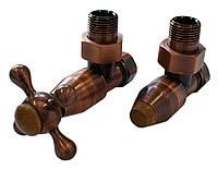 Комплекты клапанов ELEGANT Style угловой античная медь c деревянным элементом