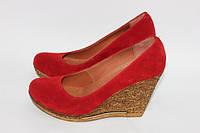 Замшевые туфли на высокой танкетке. Возможен отшив в других цветах кожи и замша, фото 1