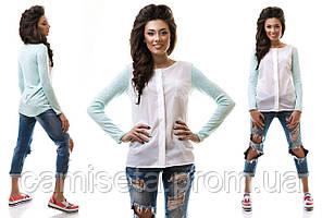 Рубашка женская повседневная из вискозы и креп шифона P1405