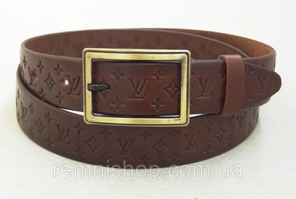 Женский кожаный ремень Louis Vuitton коричневый