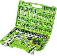 """Набор инструментов в чемодане для автомобиля Alloid 1/4 -1/2""""  94 предмета 12 граней."""