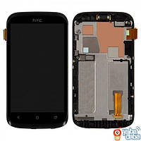 Дисплей (экран) HTC T328w Desire V с сенсором (тачскрином) и рамкой черный