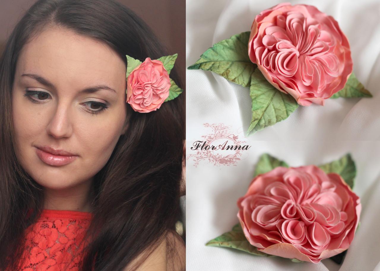 """""""Английская роза"""" заколка ручной работы из полимерной глины decoclay , фото 1"""