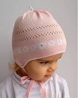 Шапка Кроха для новорожденных девочка на завязках 40,42