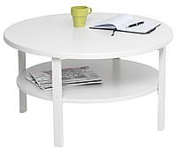 Кофейный журнальный столик круглый белый 80см