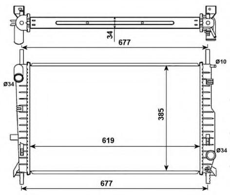 Радиатор охлаждения Ford Mondeo 1993-2000 (1.8TD 2.0 16V 2.5 24V) 616*418мм по сотах KEMP