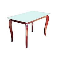 """Стол обеденный стеклянный с деревянными ножками """"Рэдвуд Вайт"""""""