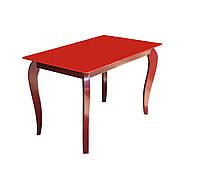 """Стол обеденный стеклянный с деревянными ножками """"Император Рэдвуд Ред"""""""