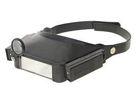 Бинокулярная лупа налобная с подсветкой - очки для работы с увеличением двумя глазами (913825)