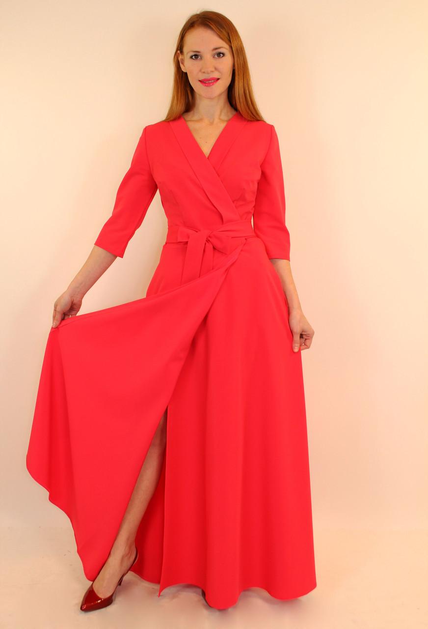 Платье-халат с запахом длинное в пол 44-50 р ( бирюзовый, коралловый )