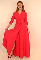 Платье-халат с запахом длинное в пол 44-50 р ( бирюзовый, коралловый ) 46, Коралловый