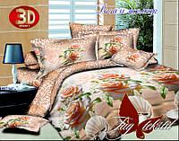 Постельный комплект белья двуспальный, 100 хлопок ранфорс,  Роза и жемчуг