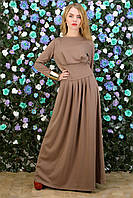 Платье в пол из трикотажа кофейное
