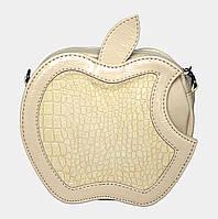 Сумка бежева лакова через плече (яблуко), фото 1