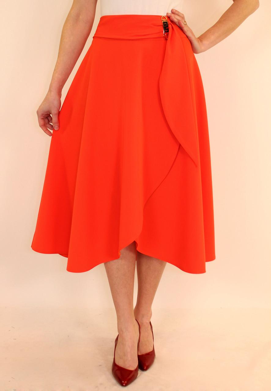 Нарядная пышная юбка миди с запахом 44-50 р ( оранжевый, бирюза )