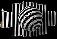 Модульная картина с часами 233 полосатый круг